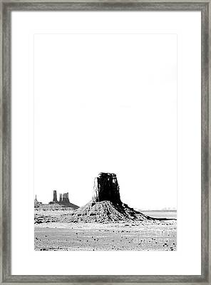 Monument Valley Utah Sanstone Monoliths Rising Up Above Desert Floor Bw Conte Crayon Digital Art Framed Print by Shawn O'Brien