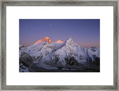 Moon Over Mount Everest Summit Framed Print