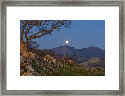 Moon Over Mt Diablo Framed Print