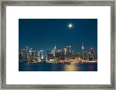 Moon Rise Manhattan Framed Print