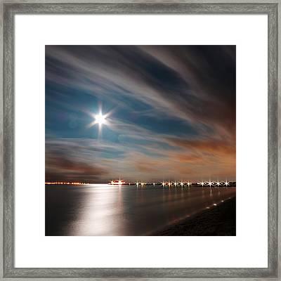 Moon Rise Over Anna Maria Island Historic City Pier Framed Print