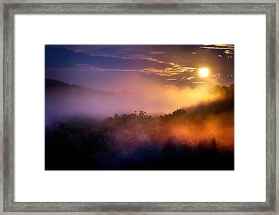 Moon Setting In Mist Framed Print