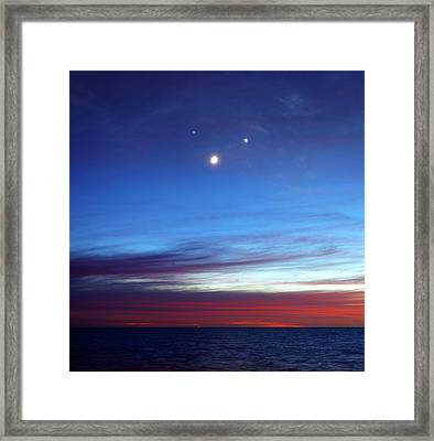 Moon With Jupiter And Venus Framed Print