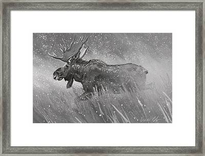Framed Print featuring the digital art Moose Sketch by Aaron Blaise
