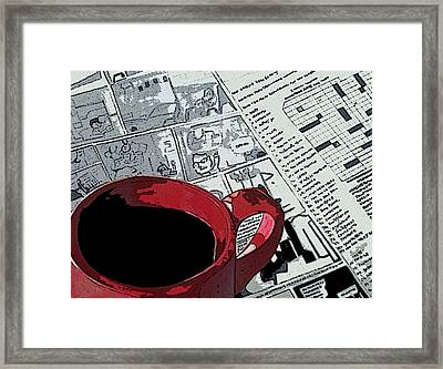 Coffee/tea And Newspaper Framed Print