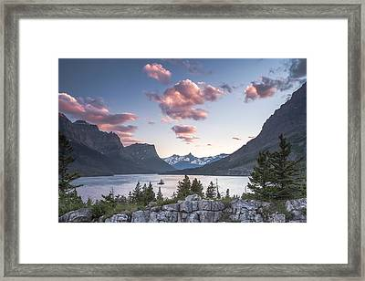Morning Colors On The Lake Framed Print by Jon Glaser