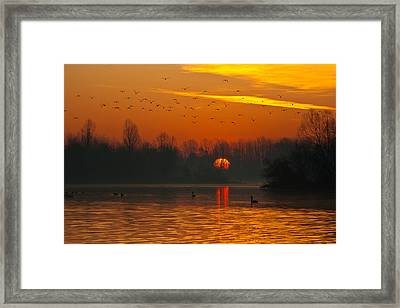 Framed Print featuring the photograph Morning Over River by Davor Zerjav