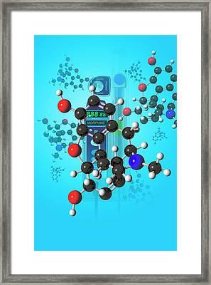 Morphine Molecule Framed Print by Carol & Mike Werner