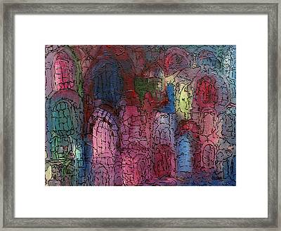 Mosaic Town Framed Print by Oscar Penalber