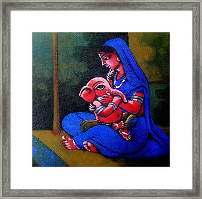 Mother And Child. Framed Print by Abhijit Banerjee