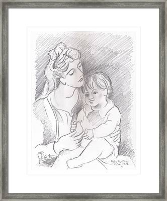 Mother And Child Framed Print by John Keaton