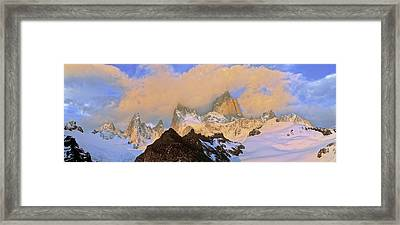 Mount Fitz Roy Seen From Laguna De Los Framed Print by Martin Zwick