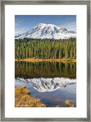 Mount Rainier And Reflection Lakes In The Fall Framed Print