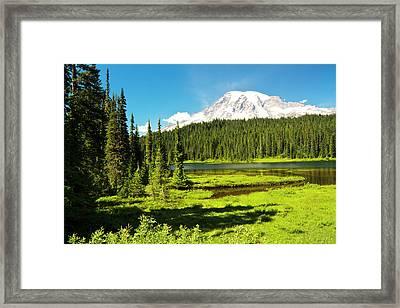 Mount Rainier, Reflection Lakes, Mount Framed Print