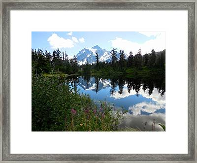 Mount Shuksan Reflection Framed Print by Karen Molenaar Terrell