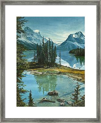 Framed Print featuring the painting Mountain Island Sanctuary by Mary Ellen Anderson