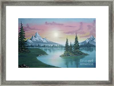 Mountain Lake Painting A La Bob Ross 1 Framed Print by Bruno Santoro