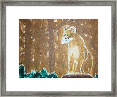 Mountain Lion Oil Painting Framed Print by William Sahir House