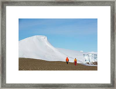 Mountain Peaks On Joinville Island Framed Print by Ashley Cooper