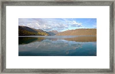 Mountain Ranges And Lake Panorama Framed Print by Panoramic Images