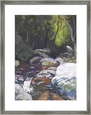 Mountain Stream At Dusk Framed Print