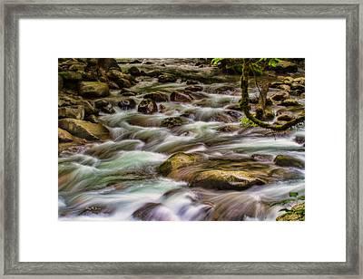 Flowing Water - Landscape - Mountain Stream Framed Print by Barry Jones