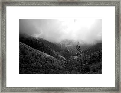 Mountain Valley Black And White Framed Print