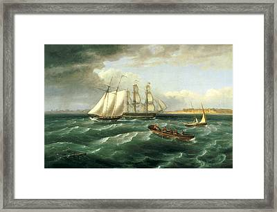 Mouth Of The Delaware Framed Print by Thomas Birch