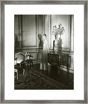 Mrs. Jacques Vanderbilt In An Ornate Room Framed Print