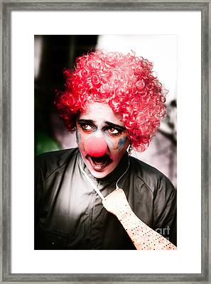Ms Frightened The Scared Clown Framed Print by Jorgo Photography - Wall Art Gallery