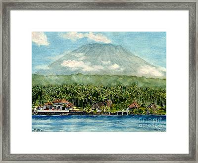 Framed Print featuring the painting Mt. Agung Bali Indonesia by Melly Terpening