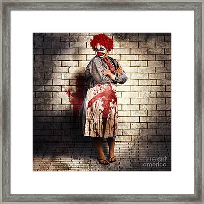Murderous Monster Clown Standing In Full Length Framed Print
