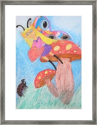 Mushroom Fairy Shows Her Heart Framed Print