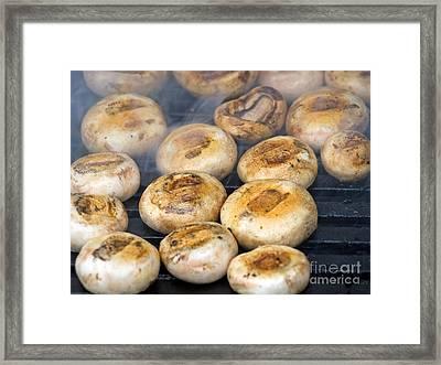 Mushrooms On Grill Framed Print