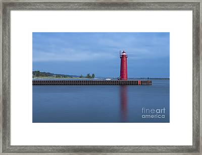 Muskegon Lighthouse At Dusk Framed Print by Twenty Two North Photography