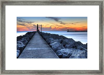 Muskegon Pier And Lighthouse Framed Print by Twenty Two North Photography