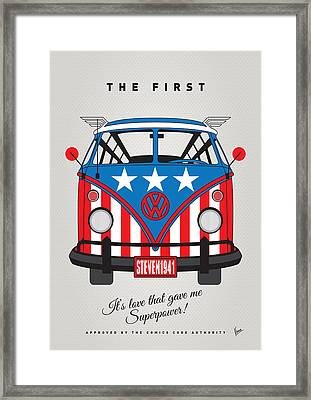 My Superhero-vw-t1-captain America	 Framed Print by Chungkong Art
