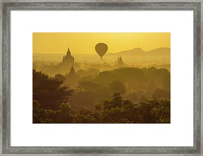 Myanmar Bagan Hot Air Balloons Rising Framed Print by Inger Hogstrom