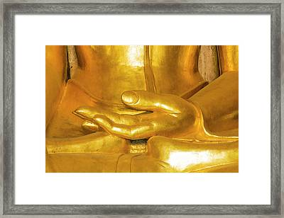 Myanmar Bagan Htilominlo Temple Golden Framed Print by Inger Hogstrom