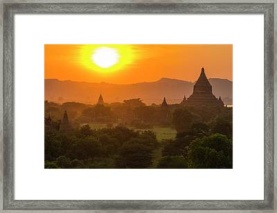 Myanmar Bagan Temples At Sunset Framed Print by Inger Hogstrom