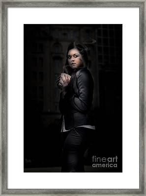 Mysterious Woman Standing In Darkness With Coffee Framed Print by Jorgo Photography - Wall Art Gallery