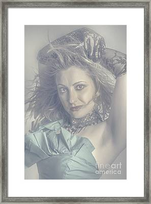 Mysterious Young Model Dancing In Vintage Fashion  Framed Print by Jorgo Photography - Wall Art Gallery