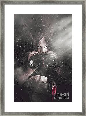 Mystery Killer Woman Spying In Dark Shadows Framed Print by Jorgo Photography - Wall Art Gallery