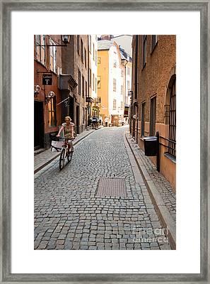 Narrow Stockholm Street Sweden Framed Print by Thomas Marchessault