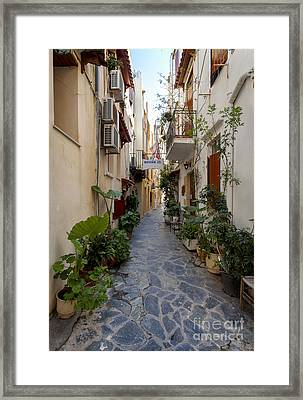 Narrow Streets In Chania Greece Framed Print