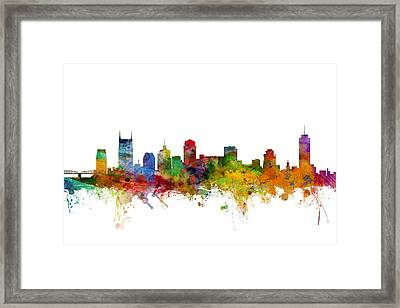 Nashville Tennessee Skyline Framed Print by Michael Tompsett