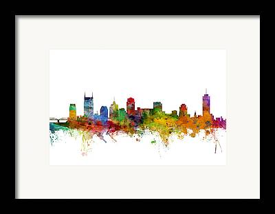 Nashville Skyline Framed Prints