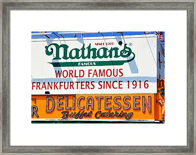 Nathan's Sign Framed Print by Valentino Visentini