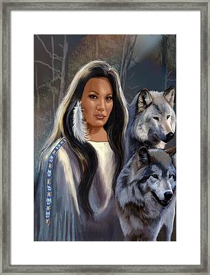Native American Maiden With Wolves Framed Print