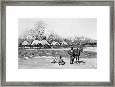 Native American Village Framed Print by Granger